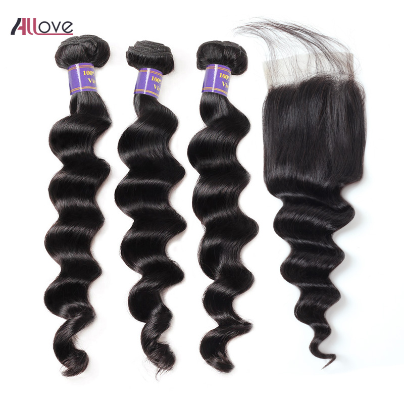 Allove Loose Deep Wave Bundles with Closure 100% Remy Human Hair Bundles with Closure Brazilian Hair Weave Bundles with Closure