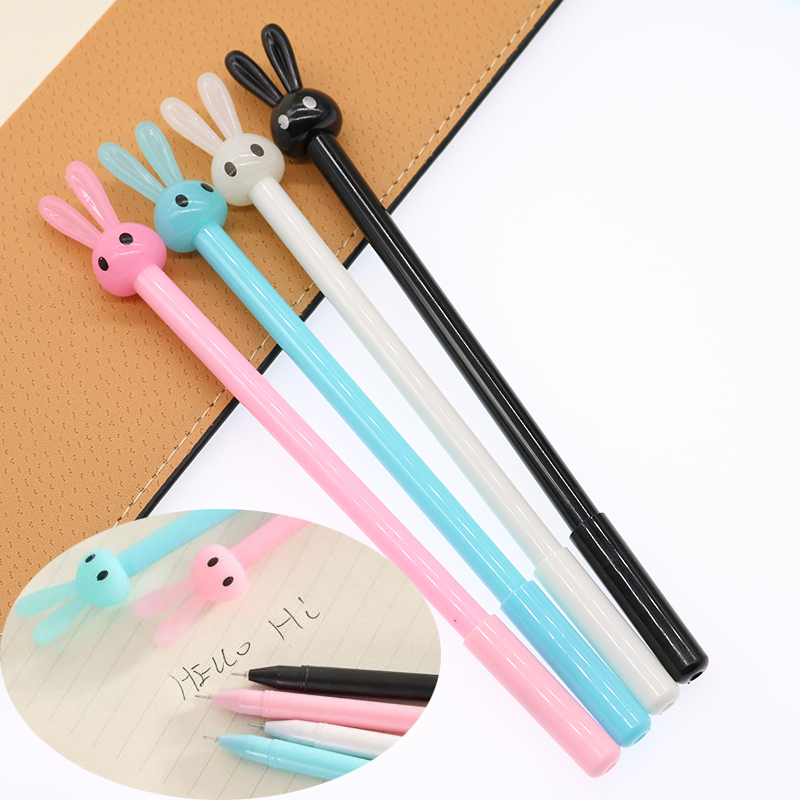 4pc  New Cute Rabbit Gel Ink Pencil Pencil Gel Pen Material School Office Pen Office Office Stationery Gift For Children 0.38mm