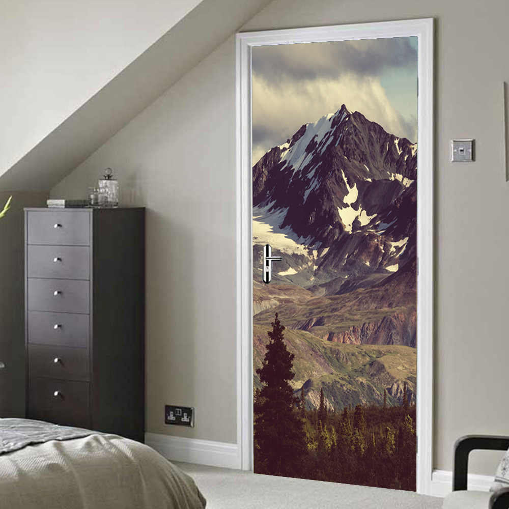 3D Door Stickers Mountain Forest Scenery Room Bathroom Door Removable Vinyl Stickers Decorative Posters