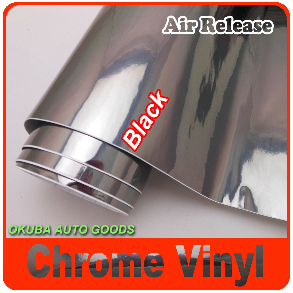 FedEx FREE SHIPPING High Gloss Black Chrome Vinyl Wrap For Car Stickers With Air Bubble Free