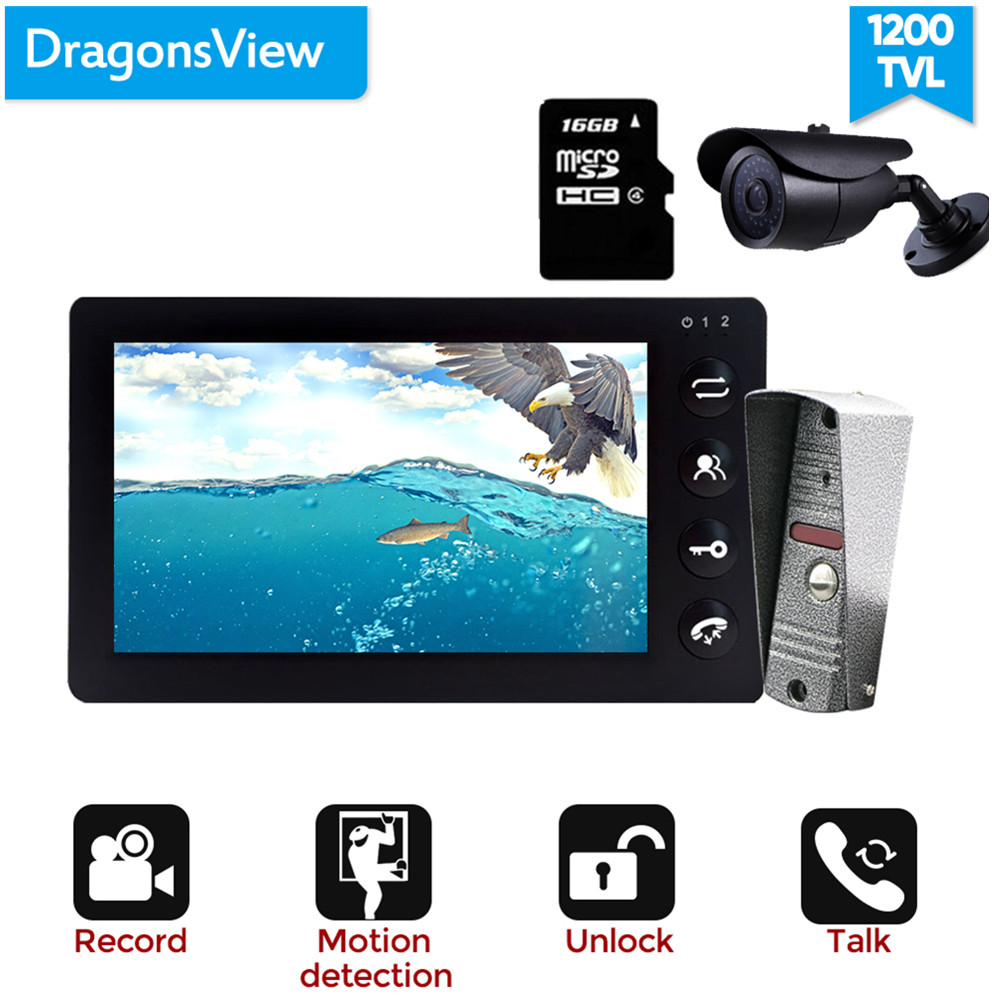 Dragonsview Black Video Intercom System for Home Video Doorbell Camera with Monitor Record SD Card CCTV