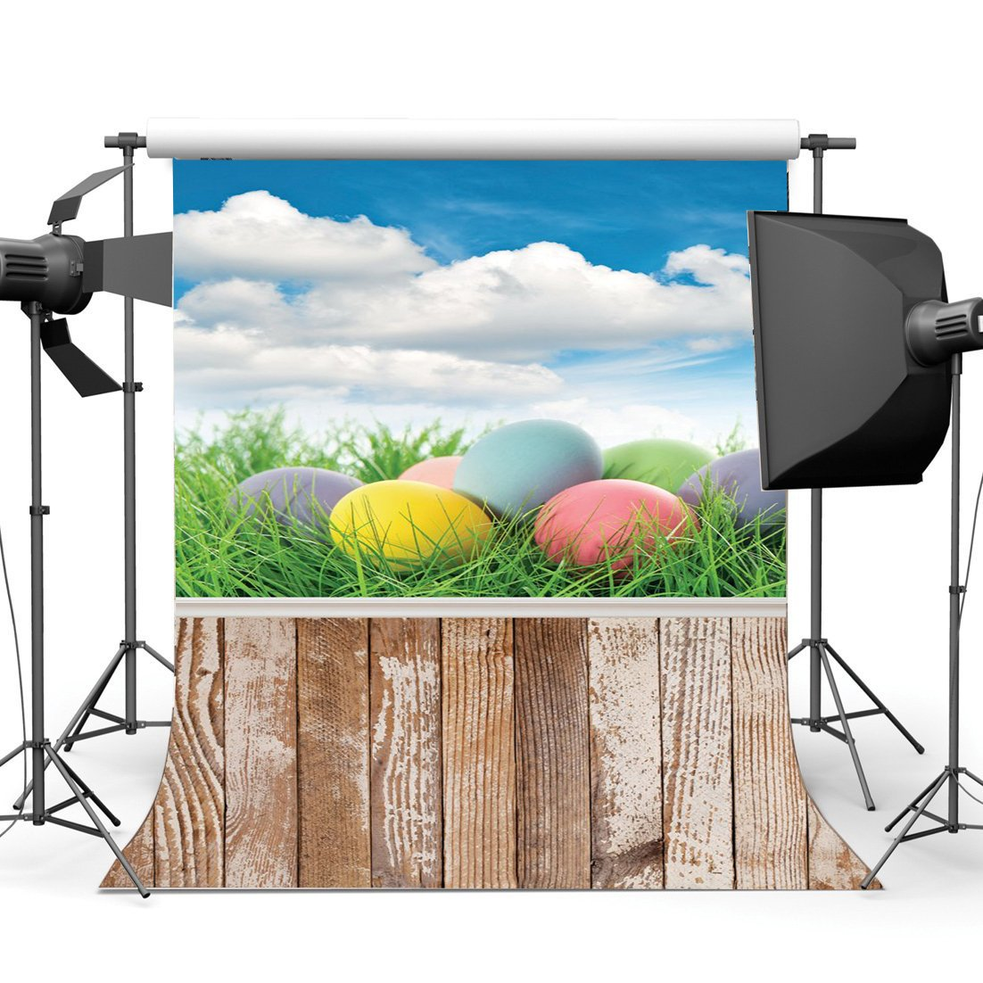 Happy Easter Eggs Backdrop Green Grass Meadow Blue Sky White Cloud Stripes Wood Plank Nature Spring Background