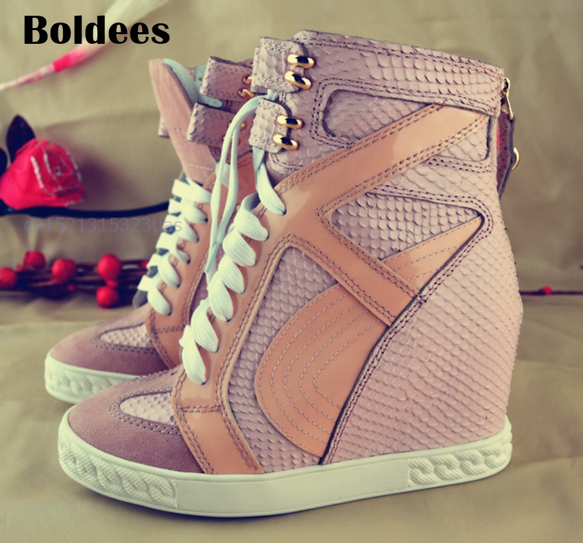 Fashion Platform Lady Boots Slip-on Height Increasing Shoes Luxury Serpentine Design Zip Zapatos Mujer Casual Shoes Women Wedges minika women casual canvas shoes air cushion soles slip on swing fitness shoes platform wedges walking height increasing shoes