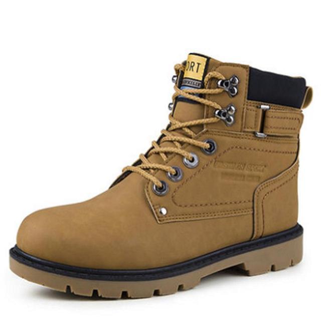 Otoño Invierno Nueva PU de Cuero Botas de Los Hombres de Inglaterra con cordones de Los Hombres Botines Para Trabajador Desierto Ejército Cálida Hombres botas de Hombre