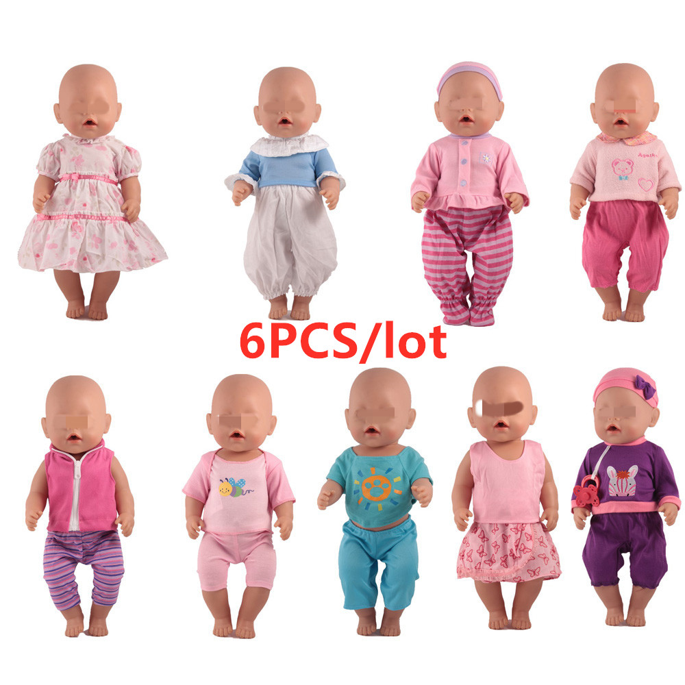 Doll Accessories Fit 43cm Baby Doll 6pcs/lot Randomly Doll Clothes Outfits Fit 43cm Baby Doll For 17inch Doll Best Girl Gift