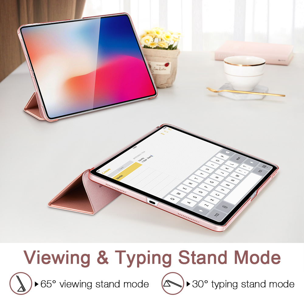 Case For Ipad Pro 11 Cover PU Leather Transparent PC Back Ultra Slim Light Weight Trifold Smart Cover For Ipad Pro 11