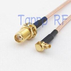 50 CM Pigtail koncentryczny kabel jumper RG316 przedłużacz 20in MMCX męski z kątem prostym do złącze żeńskie SMA złącze adaptera RF