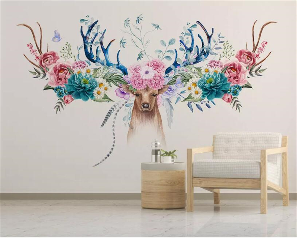 Beibehang Custom 3d Wallpaper Mural Modern Minimalist Nordic Flower Deer Head Floral Background Wall Wall Papers Home Decor