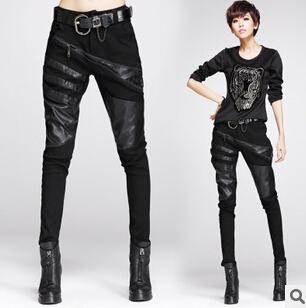Sexy elásticamente estirable negro empalme pantalones de cuero y pantalones pantalones para mujeres