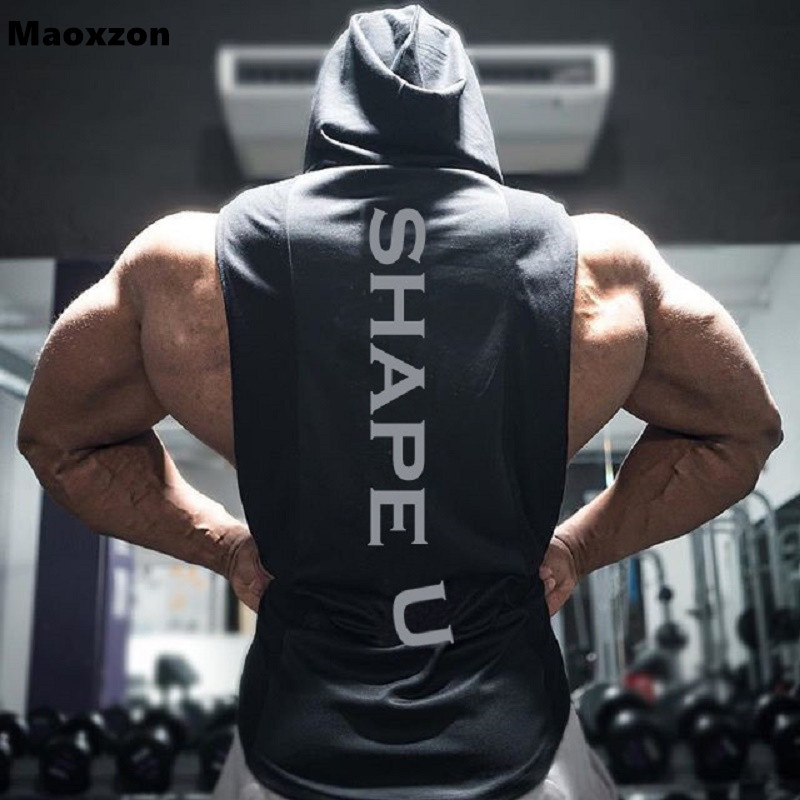 Maoxzon Mens Muscle Fitness Hoodies Tank Tops Male Sleeveless Casual Gymnasium Active Workout Hooded T-Shirts Vests Pullovers