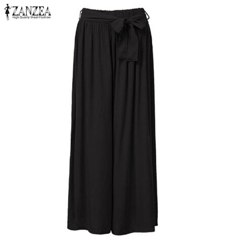 ZANZEA Fashion 2018 Women   Wide     Leg     Pants   Vintage Casual Loose Elastic Waist Trousers Cotton Solid Long   Pants   Oversized Plus Size