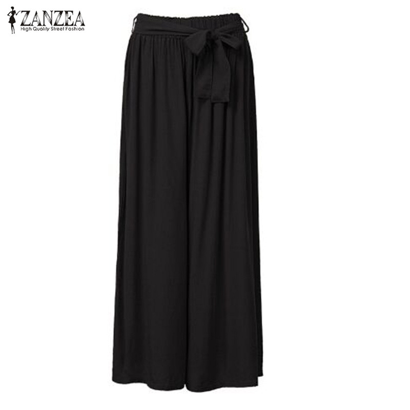 ZANZEA Fashion 2019 Women   Wide     Leg     Pants   Vintage Casual Loose Elastic Waist Trousers Cotton Solid Long   Pants   Oversized Plus Size