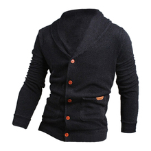 2017 NEW Sweater Lapel Mens Cardigan Sweater Fashion Knitted Sweater Coat of Cultivate One's Morality Dark blue