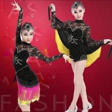 Sequins Girls Ballroom Latin Dance dress Kids Professional Performance Stage wear dance Costumes clothing kleid ballroom frauen