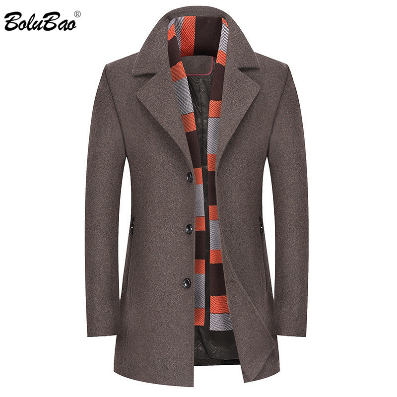BOLUBAO Winter New Men Wool Blends Coats Men's Thick Warm Scarf Wool Coat Male Business Casual Quality Brand Wool Coat