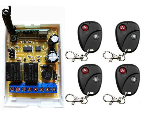 Dc 12v dc 24v 2ch rf wireless remote control lighting for 12v garage door remote