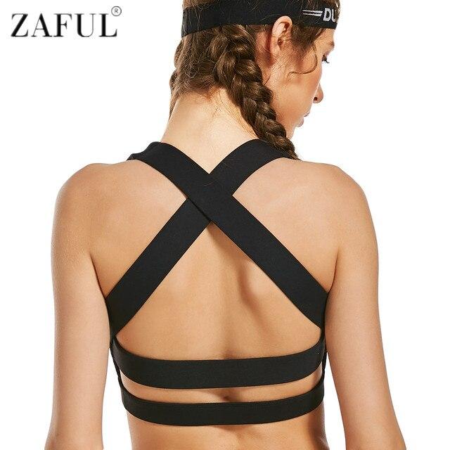 985c8d3072f6f ZAFUL Women Cross Design Sports Bra Push Up Shockproof Vest Tops Running  Gym Fitness Padded Yoga