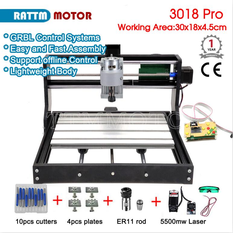 CNC 3018 Pro GRBL Control 3 Axias DIY Mini Laser Engraving Machine 30x18x4.5cm Offline Control Wood Router
