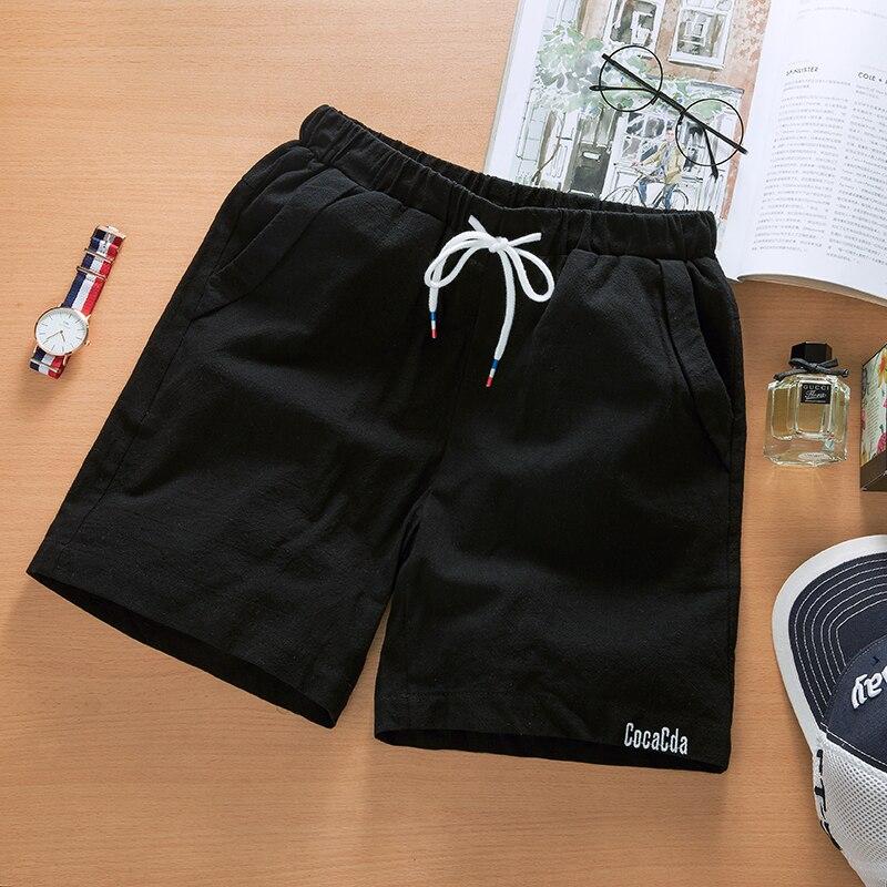 YuWaiJiaRen Linen Shorts Men Summer Fashion Solid Elastic Waist Breathable Beach Shorts for Men ...
