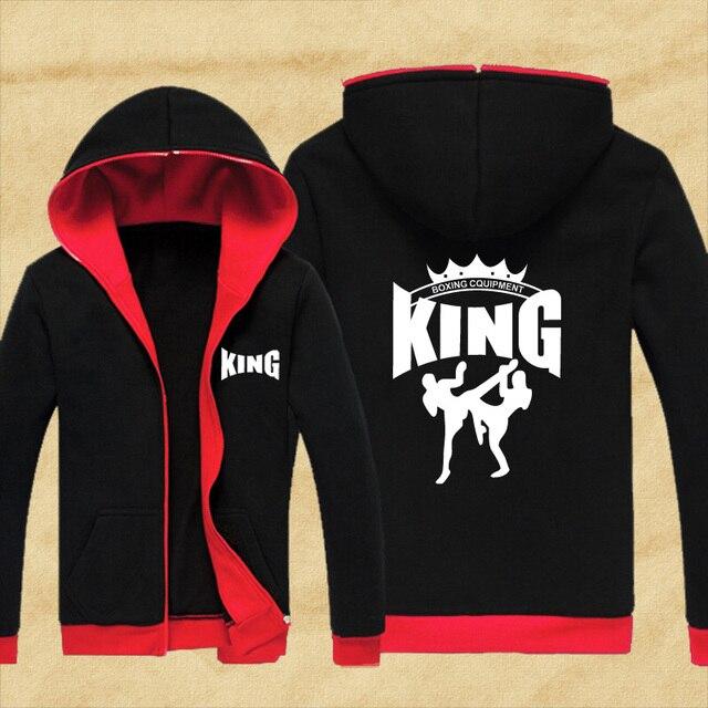 9286f4a3f2a New arrival MMA Hoodie Muay Thai Fighting Zipper Hoodies fleece jacket Men  Sweatshirts Unisex King Martial Art Coat hoody