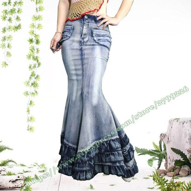 60aa70392 € 45.44 |2017 Bohemia Vintage Retro Saia estiramiento colmena femenina  señoras Denim Maxi faldas largas Mujer/mujer Sexy Jeans falda diseños en ...