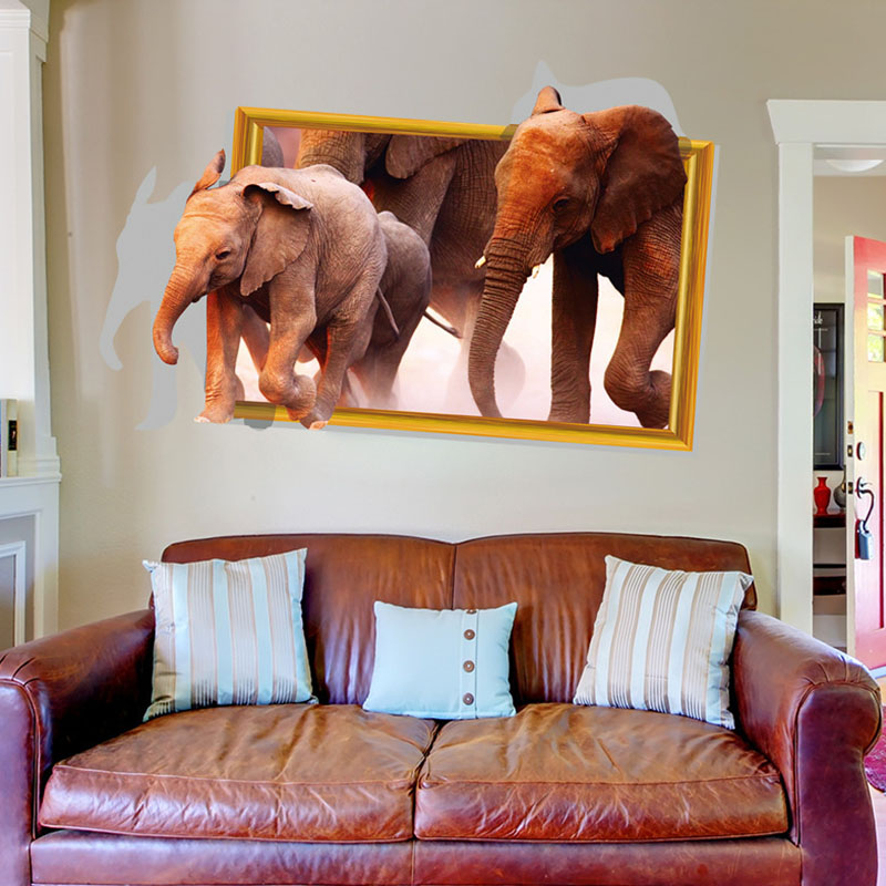 3d elephants wall stickers home decor for kids room living room sofa background decal sticker - Elephant decor for living room ...