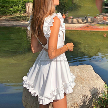 CUERLY Sexy ruffle backless wome dresses O neck sleeveless party summer spring white dress Casual elegant solid festa