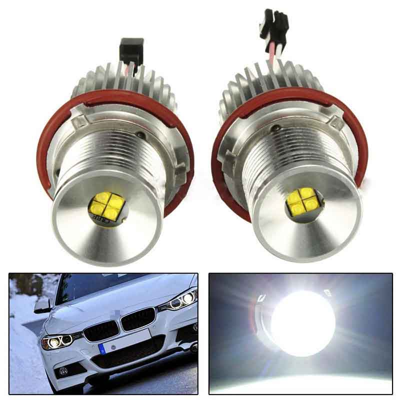 2PCS 40W Ultra Bright LED Angel Eyes Marker Light Bulb White Error Free for BMW E39 E60 E87 E61 E63 E64 E65 E66 E83 Halo Ring h8 2x30w led angel eyes for bmw e92 led marker 2 pcs headlight error free best quality new