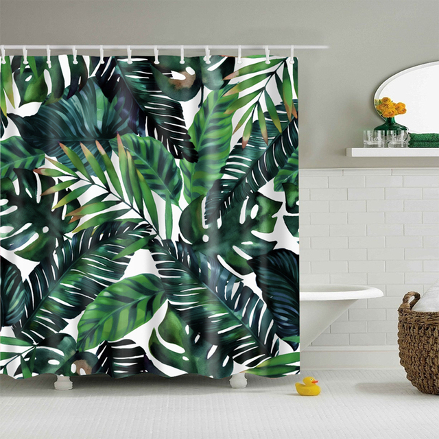 Natural Pattern Pineapple Flower Leaf Polyester Shower Curtains Washable High Quality Colorful For