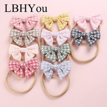 New Fashion Girls Classic Plaid Bows Nylon Headbands Soft Elastic Hairbands Hand Tie Hair Accessories For Baby