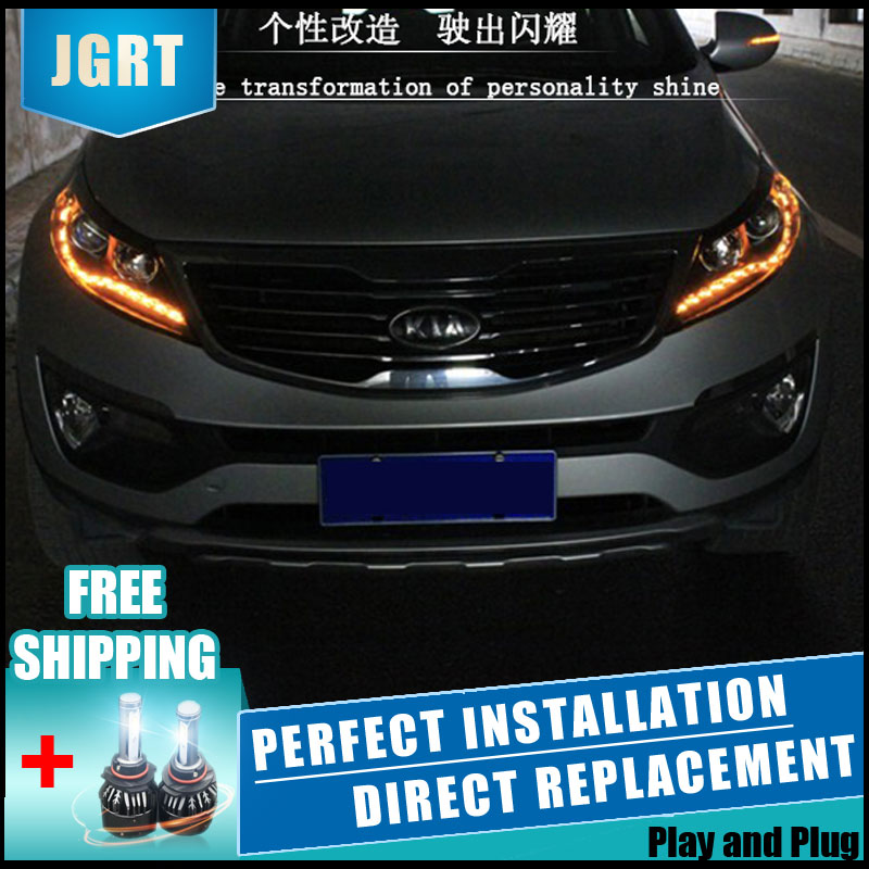 2PCS LED Headlights For Kia Sportage R 2014 2015 Car Led Lights Double Xenon Lens Car Accessories Daytime Running Lights