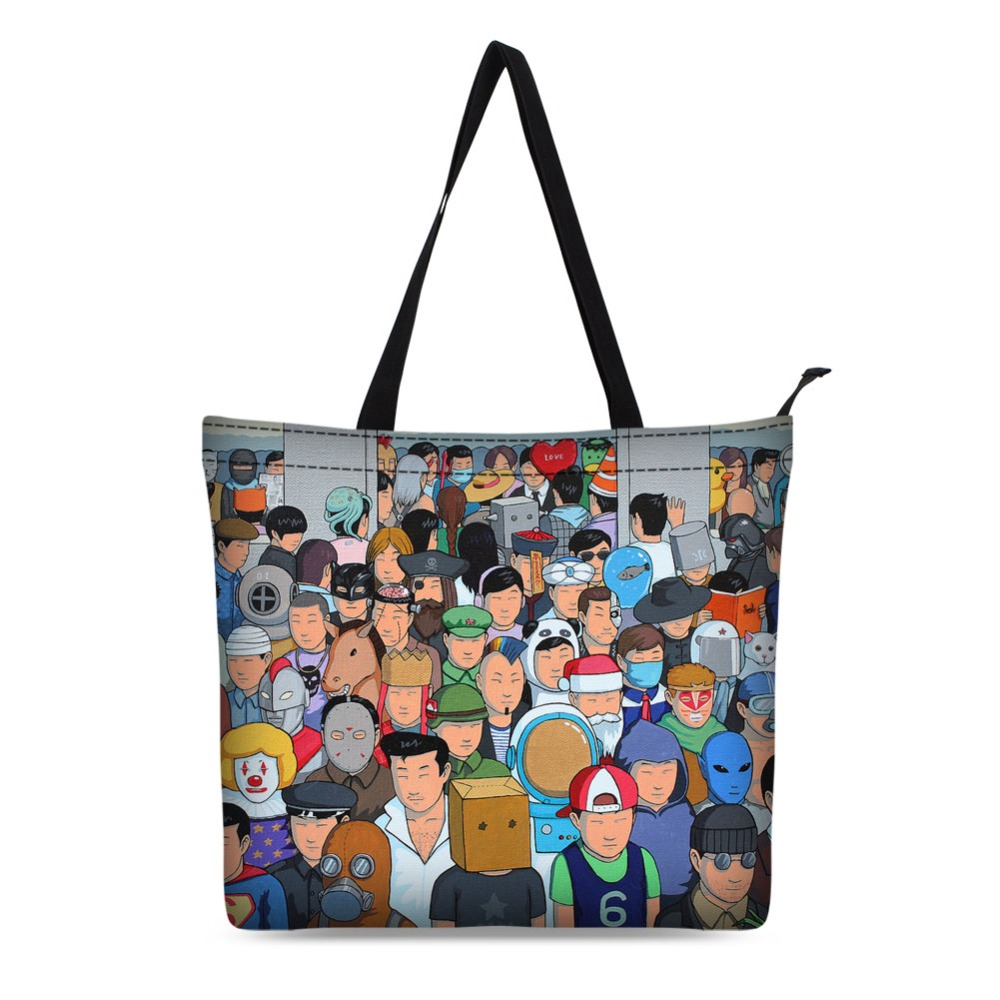 girls cartoon design  tote bag canvas shopping bag fancy black style bag for school or daily use large capacity tote tote bag