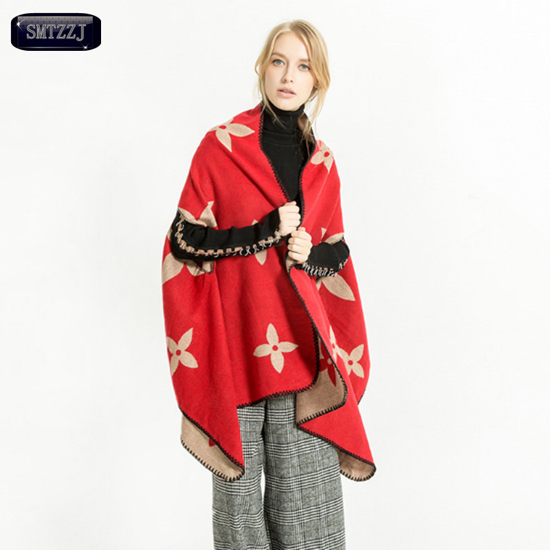 SMTZZJ 2018 Cashmere Scarf Shawl Women Winter Spring Warm Luxury Brand Clover Wool Soft Red Black Scarves Wraps Echarpe Pashmina