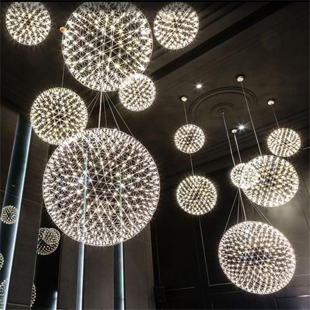 現代の創造的な花火ペンダントライトバーledステンレス鋼ボール用のランプハンギングコーヒーカフェレストランlamparas光沢デコ