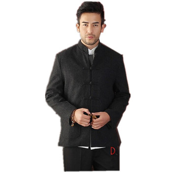 Hot Sale Black Men's Long sleeve Chinese style Wool Jacket Kung Fu Coat Solid Simple Style Tang Suit Size S M L XL XXL XXXL