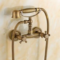 Free shipping Telephone Style Antique Bronze Shower Faucet Dual Handle Mixer Wall Mounted Luxury Bathroom Shower Set ZR010
