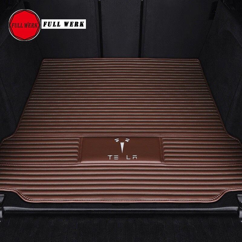 1ピースレザーカーリアトランクパッドカートランクマットクッションAnti Dity Pad Special for Tesla MODEL S MODEL X Model 3インテリアアクセサリーБагажник