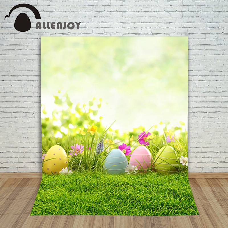 Allenjoy Easter backdrop Happpy Easter eggs Spring flowers blur light grass green children photography background professional allenjoy backdrop spring background green grass light bokeh dots photocall kids baby for photo studio
