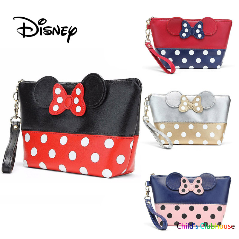 Disney PU Bowknot Mickey Mouse Plush Purse Multi-function Women Bag Mini Girl Toy Cosmetic Wallet Mummy Zipper Toiletry Bags