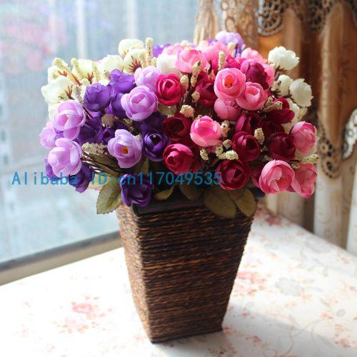 1PCS Kytice Umělá květina Malé hedvábné růže Domácí strana dekorace 4 barvy k dispozici F136