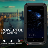 Original Water Dirt Shock Proof Huawei P10 Case Love Mei Fitted Case Aluminum Metal Cover Armor