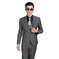 Men Suits Jacket Pants Tie Slim Custom Fit Tuxedo Brand Fashion Bridegroon Business Formal Dress Wedding