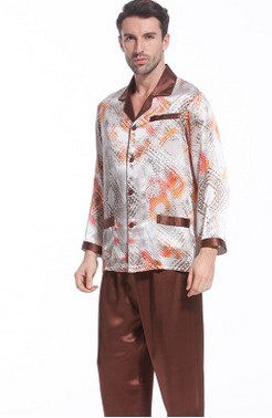Autumn Silk Pajama Suit Man 100% Mulberry Silk Family Clothing Long Sleeve Two-piece