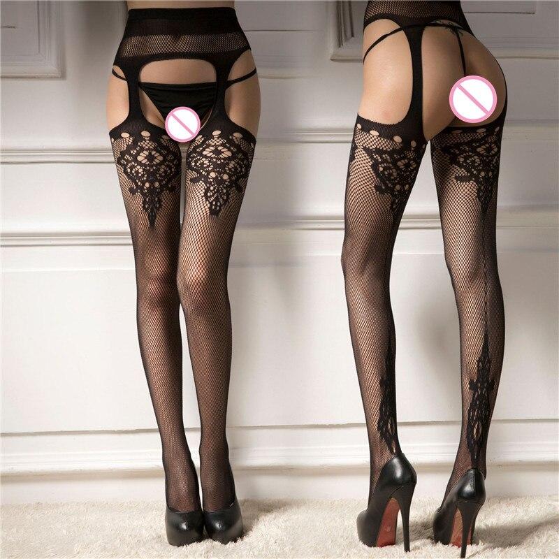Erotic Underwear Hollow Garter Jacquard Pants Bottoming Pantyhose Big Mesh Fishnet Socks Sexy Lingerie For Sex Intimate Goods