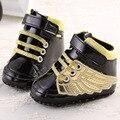 2017 Primavera Lindo Ala Dorada de Bebé de Cuero Suave de LA PU Negro niños Niñas Zapatillas de deporte de Moda Infantil Bebe Zapatos Del Pesebre Del Niño Interior zapatos