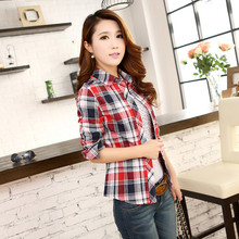 New Nice  Plaid Blouse Slim Temperament Shirt Optional four-color Women Tops H212811