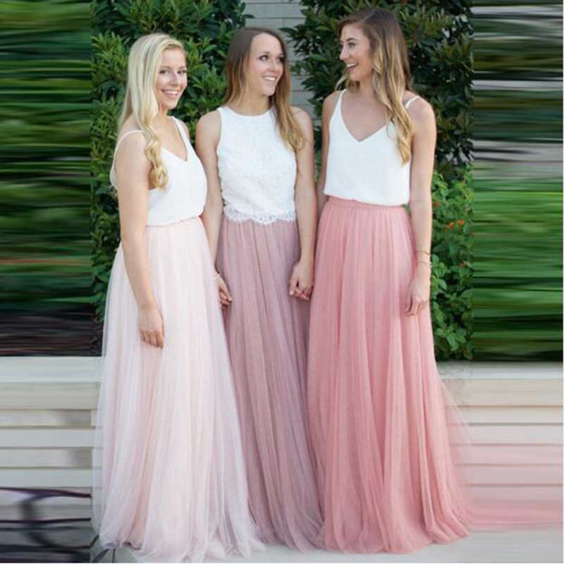 U-SWEAR Women 3 Layers Lace Maxi Long Skirt 2018 Tulle Skirt Bridesmaid Ball Skirts Plus Size Women's Skirts Hot sale