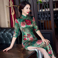 2017 Luxury Silk Floral Print Qipao Party Dress for Women Peony Flower Long Cheongsam Dress Traditional Chinese Dresses