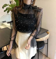 Fashion Brand Spring Women Bow Tie Neck Blouse Tops Pearl Bead Lace Blouse Elegant Flare Sleeve