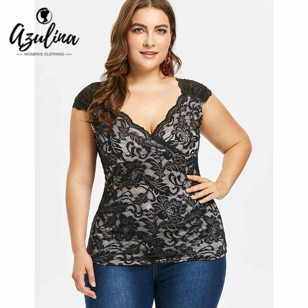 4fb5dc599fe AZULINA Plus Size Floral Lace Two-Tone Tank Top Summer V Neck Ruch Shoulder  Cap
